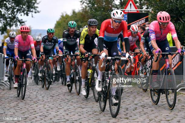Sebastian Langeveld of The Netherlands and Team EF Pro Cycling / Daniel Oss of Italy and Team Bora - Hansgrohe / Jack Bauer of New Zealand and Team...
