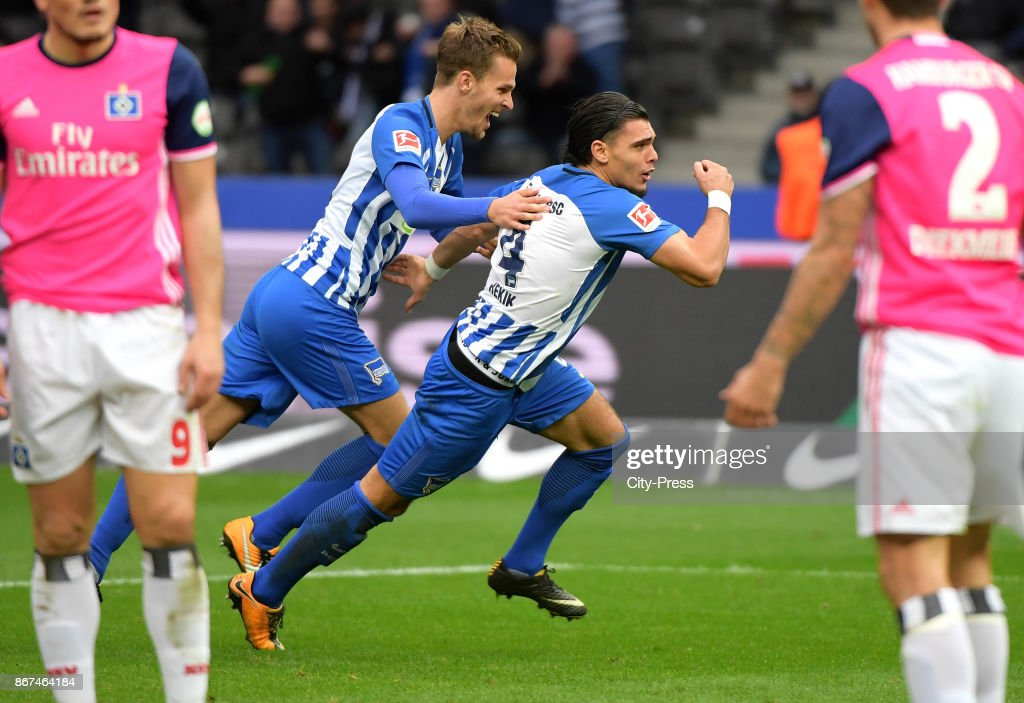 Sebastian Langkamp and Karim Rekik of Hertha BSC celebrate after scoring the 2:0 during the game between Hertha BSC and Hamburger SV on October 28, 2017 in Berlin, Germany.