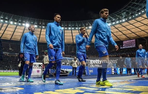 Sebastian Langkamp Davie Selke Arne Maier and Alexander Esswein of Hertha BSC before the game between Hertha BSC and Borussia Moecnhengladbach on...