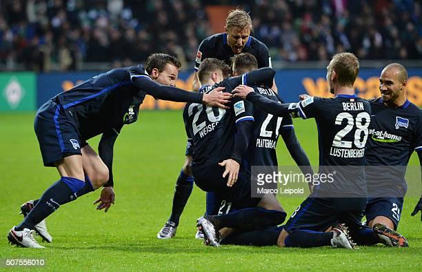 Sebastian Langkamp, Mitchell Weiser, Marvin Plattenhardt, Fabian Lustenberger and John Anthony Brooks of Hertha BSC celebrate after scoring the 0:2...