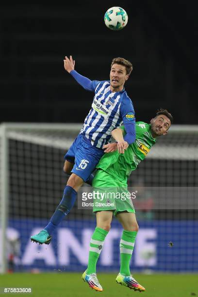 Sebastian Langkamp of Berlin fights for the ball with Josip Drmic of Moenchengladbach during the Bundesliga match between Hertha BSC and Borussia...