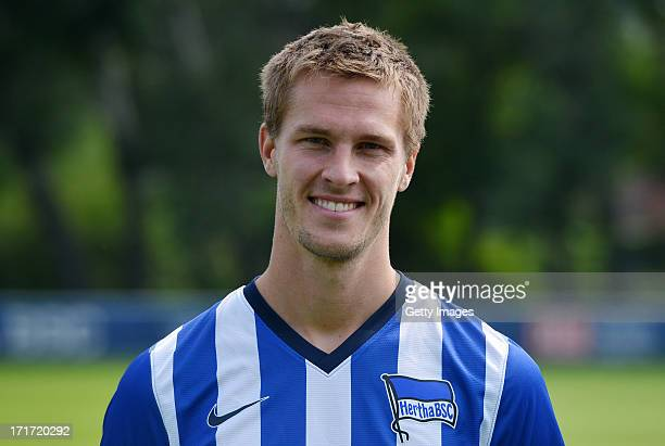 Sebastian Langkamp of Berlin pose during the official Hertha BSC Berlin team presentation at the training ground of the team on June 28 2013 in...