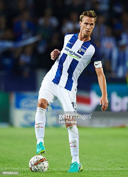 Sebastian Langkamp of Hertha Berlin controls the ball during the UEFA Europa League qualifier match between Brondby IF and Hertha Berlin at Brondby...