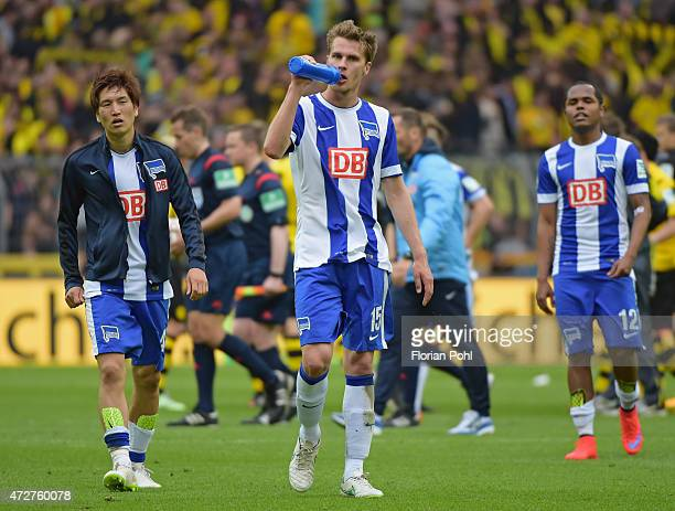 Sebastian Langkamp of Hertha BSC drinks water during the game between Borussia Dortmund and Hertha BSC on May 9 2015 in Dortmund Germany