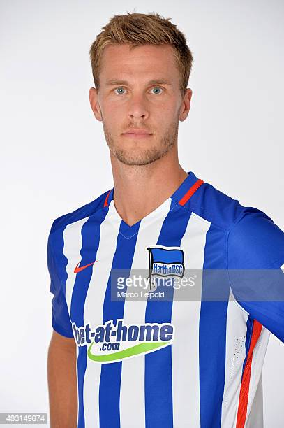 Sebastian Langkamp of Hertha BSC during a portrait session for the 2015/16 season on August 6 2015 in Berlin Germany