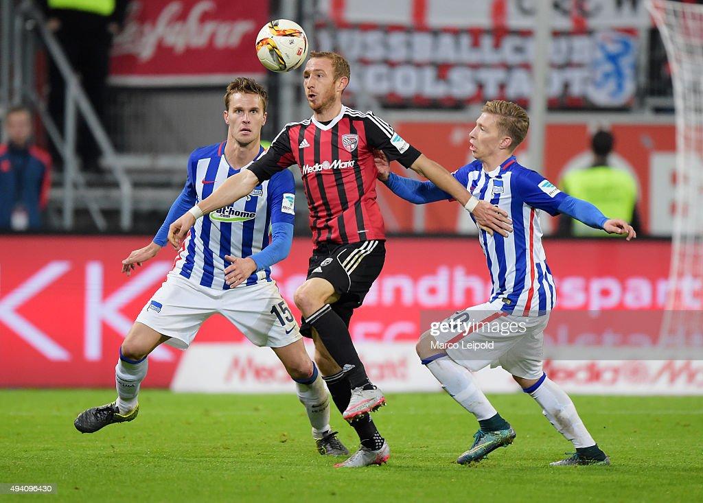Sebastian Langkamp of Hertha BSC, Moritz Hartmann of FC Ingolstadt 04 and Mitchell Weiser of Hertha BSC during the game between FC Ingolstadt and Hertha BSC on October 24, 2015 in Ingolstadt, Germany.