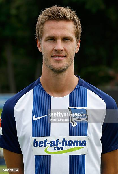 Sebastian Langkamp of Hertha BSC poses during the Hertha BSC Team Presentation on July 12 2016 in Berlin Germany