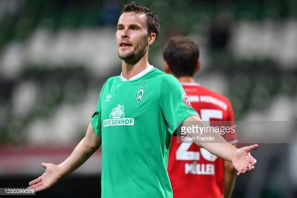 Sebastian Langkamp of SV Werder Bremen reacts during the Bundesliga match between SV Werder Bremen and FC Bayern Muenchen at Wohninvest Weserstadion...
