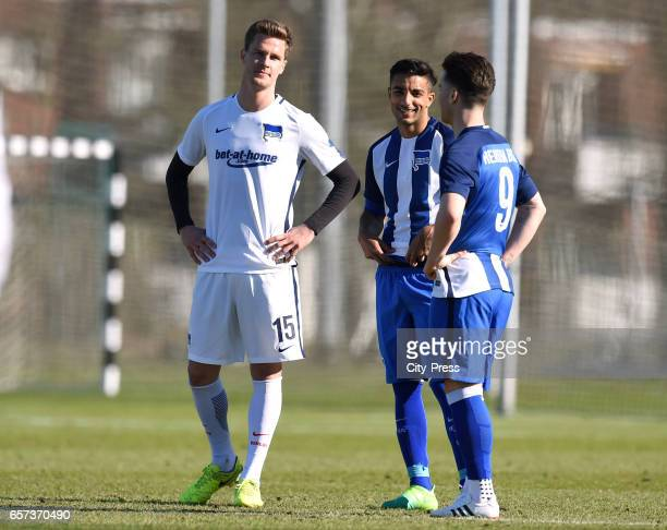 Sebastian Langkamp Sami Allagui and Alexander Baumjohann of Hertha BSC during the test match between Hertha BSC and Hertha U23 on March 24 2017 in...