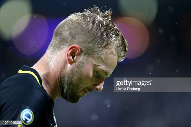 Sebastian Larsson of AIK looks on during the Allsvenskan match between AIK and Trelleborgs FF at Friends Arena on August 26 2018 in Stockholm Sweden