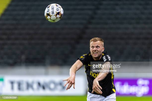 Sebastian Larsson of AIK takes a throw in during the Allsvenskan match between AIK and Mjallby AIF at Friends Arena on May 22, 2021 in Stockholm,...