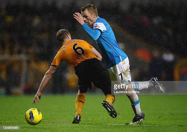 Sebastian Larsson of Sunderland dives through the air after coliding with Jody Craddock of Wolverhampton Wanderers during the Barclays Premier League...