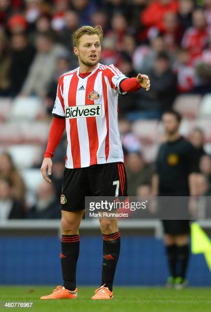 Sebastian Larsson of Sunderland gestures during the FA Cup Third Round match between Sunderland and Carlisle United at the Stadium of Light on...
