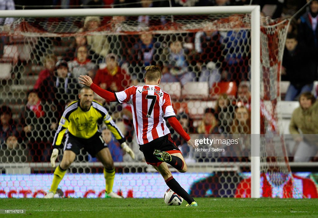 Sebastian Larsson of Sunderland scores their second goal during the Capital One Cup fourth Round match between Sunderland and Southampton at Stadium of Light on November 06, 2013 in Sunderland, England.