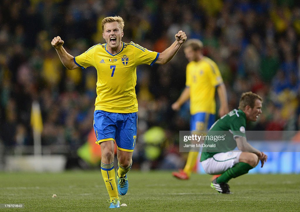 Sebastian Larsson of Sweden celebrates victory during the FIFA 2014 World Cup Qualifying Group C match between Republic of Ireland and Sweden at Aviva Stadium on September 6, 2013 in Dublin, Ireland.