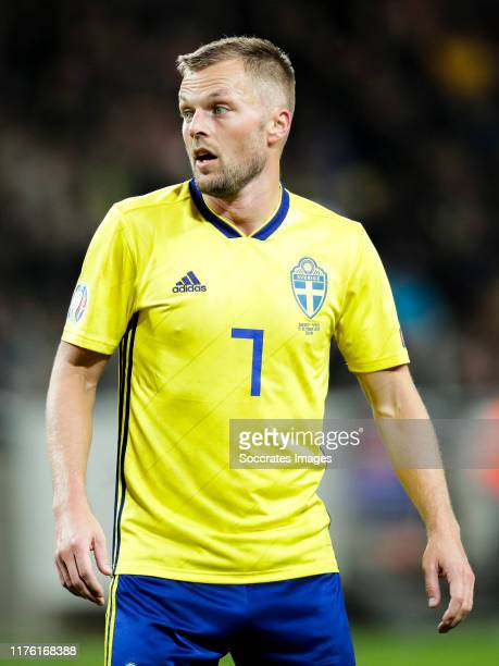 Sebastian Larsson of Sweden during the EURO Qualifier match between Sweden v Spain at the Friends Arena on October 15, 2019 in Solna Sweden