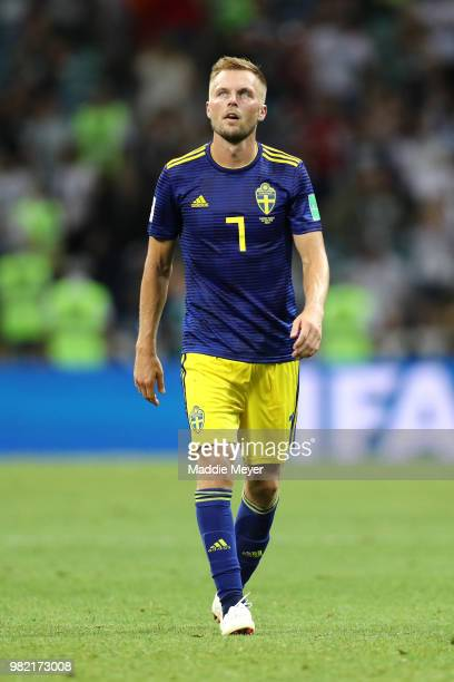 Sebastian Larsson of Sweden look dejected following the 2018 FIFA World Cup Russia group F match between Germany and Sweden at Fisht Stadium on June...