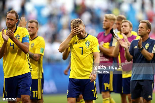 Sebastian Larsson of Sweden looks dejected following his sides defeat in the 2018 FIFA World Cup Russia Quarter Final match between Sweden and...
