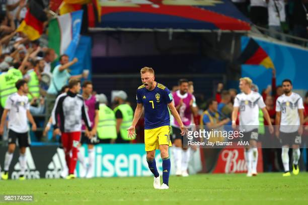 Sebastian Larsson of Sweden reacts after Toni Kroos of Germany scored a goal to make it 21 during the 2018 FIFA World Cup Russia group F match...