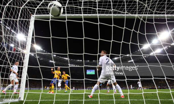 Sebastian Larsson of Sweden scores his teams second goal during the UEFA EURO 2012 group D match between Sweden and France at The Olympic Stadium on...