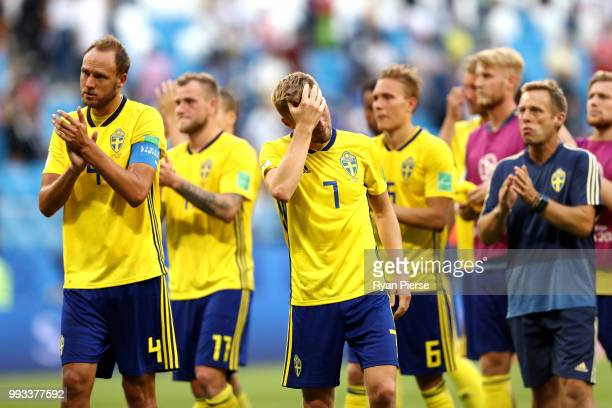 Sebastian Larsson of Sweden shows his dejection following the 2018 FIFA World Cup Russia Quarter Final match between Sweden and England at Samara...