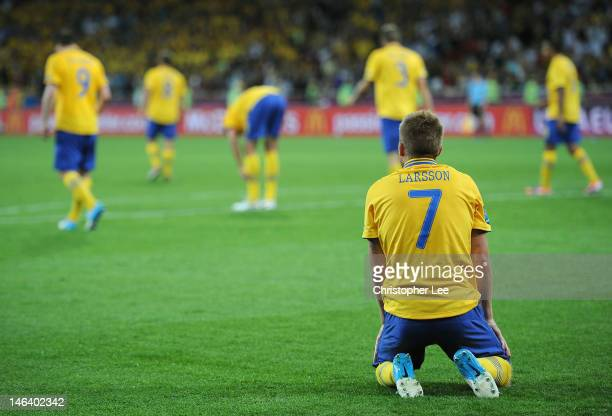 Sebastian Larsson of Sweden sits dejected during the UEFA EURO 2012 group D match between Sweden and England at The Olympic Stadium on June 15 2012...