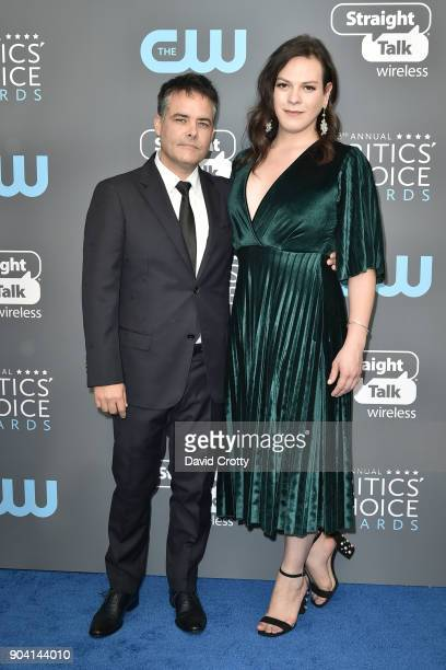 Sebastian Lelio and Daniela Vega attend The 23rd Annual Critics' Choice Awards Arrivals at The Barker Hanger on January 11 2018 in Santa Monica...