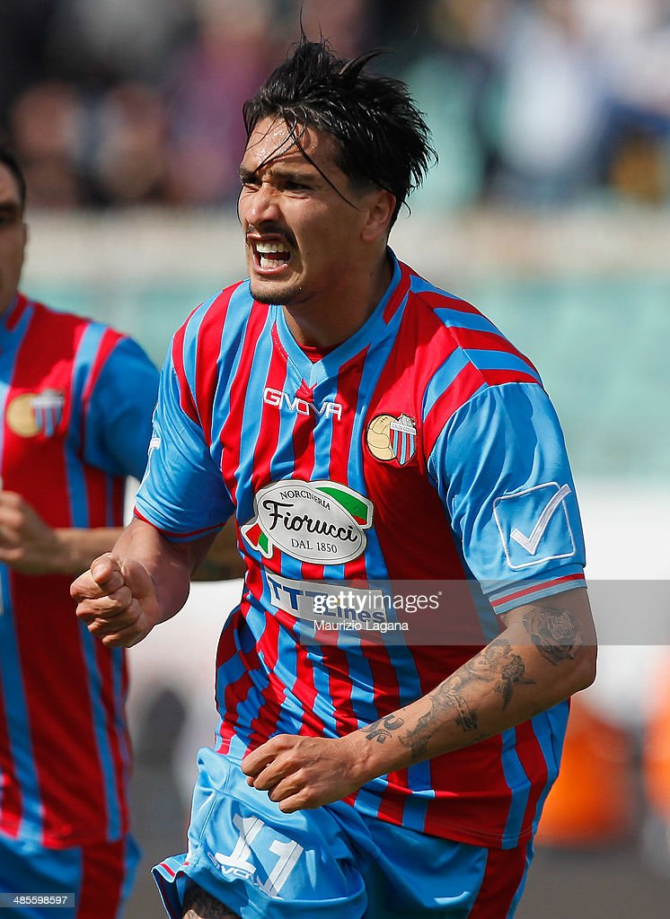 Sebastian Leto of Catania celebrates after scoring his team's opening goal during the Serie A match between Calcio Catania and UC Sampdoria at Stadio Angelo Massimino on April 19, 2014 in Catania, Italy.