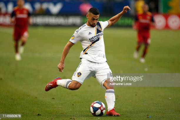Sebastian Lletget of Los Angeles Galaxy prepares to kick the ball during a game against Real Salt Lake at Dignity Health Sports Park on April 28 2019...