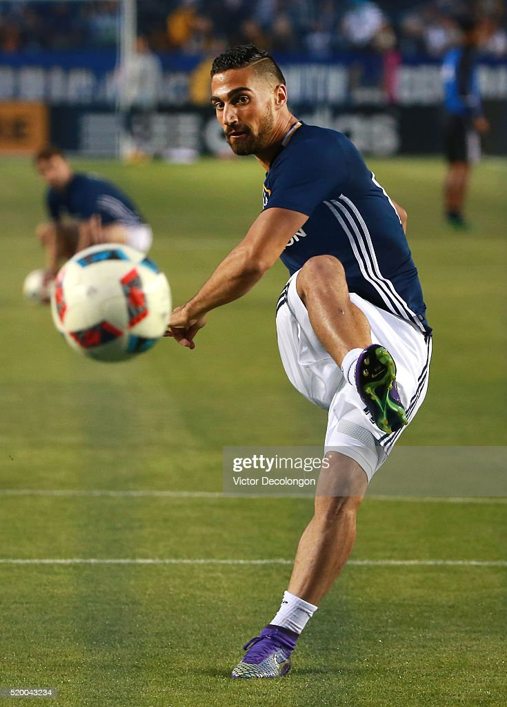 Sebastian Lletget #17 of the Los Angeles Galaxy takes a shot on goal during warm-up prior to their MLS match against the San Jose Earthquakes at StubHub Center on March 19, 2016 in Carson, California. The Galaxy defeated the Earthquakes 3-1.