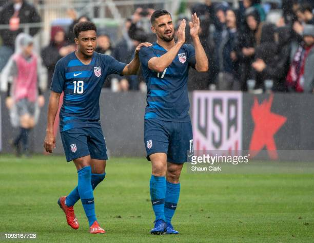 Sebastian Lletget of the United States and Jonathan Lewis of the United States following the international friendly match between the United States...