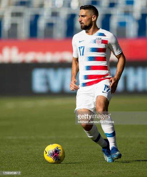 Sebastian Lletget of the United States looks for an open man during a game between Costa Rica and USMNT at Dignity Health Sports Park on February 1...