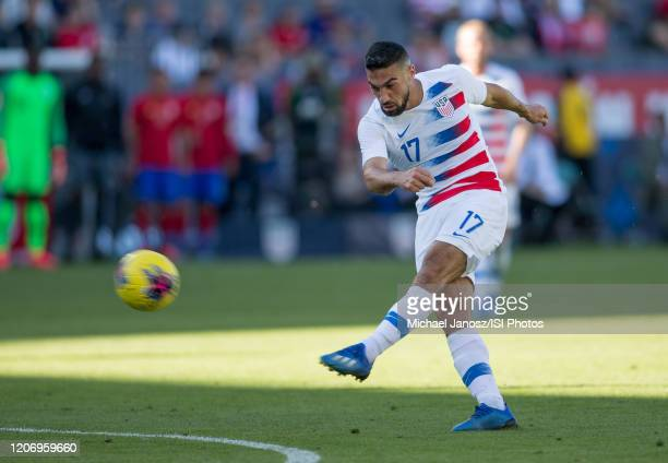 Sebastian Lletget of the United States takes a shot during a game between Costa Rica and USMNT at Dignity Health Sports Park on February 1 2020 in...