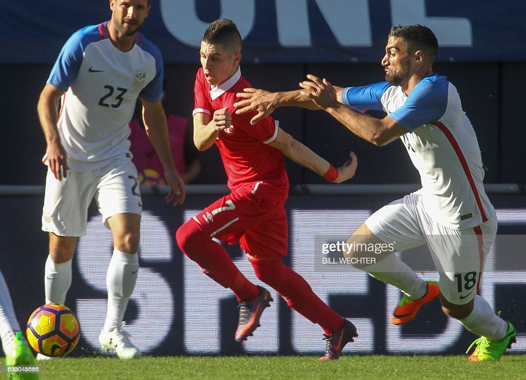 Sebastian Lletget of the US, right, attempts to chase down Serbia's Srdan Plavsic during the second half of a MLS friendly match at Qualcomm Stadium in San Diego, California on January 29, 2017. / AFP / Bill Wechter