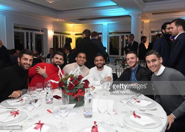 Sebastian Luperto Elsaid Hysaj Marques Allan Lorenzo insigne Anastasio and Alex Meret attend the SSC Napoli Xmas Dinner on December 18 2018 in Naples...
