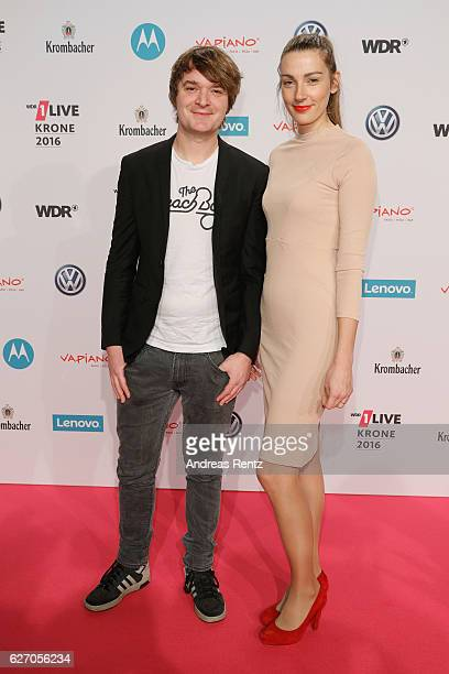 Sebastian Madsen and Lisa attend the 1Live Krone at Jahrhunderthalle on December 1 2016 in Bochum Germany