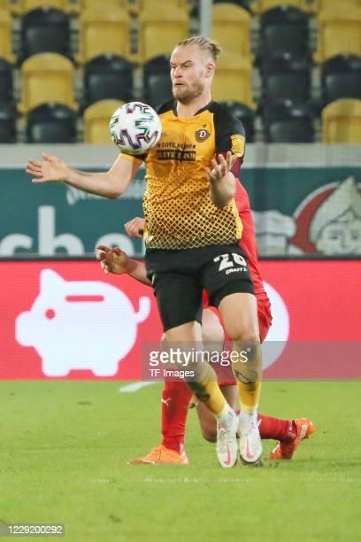 Sebastian Mai of SG Dynamo Dresden controls the ball during the 3 Liga match between Dynamo Dresden and FSV Zwickau at RudolfHarbigStadion on October...