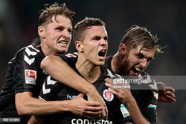 Sebastian Maier of Pauli celebrates after scoring their first goal during the Second Bundesliga match between FC St Pauli and MSV Duisburg at...