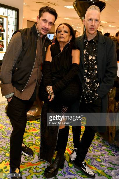 Sebastian Manes, Michele Lamy and Jefferson Hack attend the launch of Dazed Beauty Space at Selfridges at Selfridges on March 12, 2020 in London,...