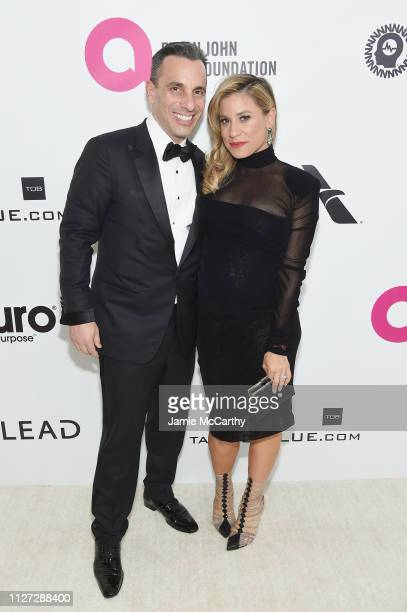Sebastian Maniscalco and and Lana Gomez attend the 27th annual Elton John AIDS Foundation Academy Awards Viewing Party sponsored by IMDb and Neuro...
