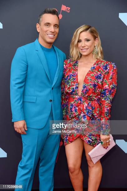 Sebastian Maniscalco and Lana Gomez attend the 2019 MTV Video Music Awards at Prudential Center on August 26 2019 in Newark New Jersey