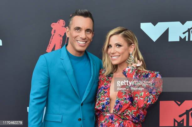 Sebastian Maniscalco and Lana Gomez attend the 2019 MTV Video Music Awards red carpet at Prudential Center on August 26 2019 in Newark New Jersey