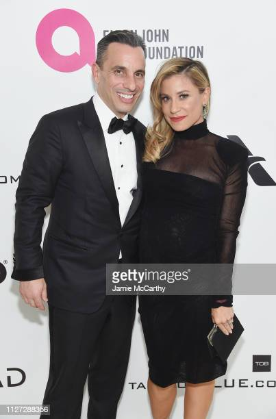Sebastian Maniscalco and Lana Gomez attend the 27th annual Elton John AIDS Foundation Academy Awards Viewing Party sponsored by IMDb and Neuro Drinks...