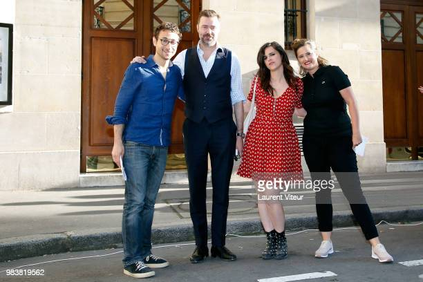 Sebastian Marx Walter Laura Domenge and Elodie Poux attend 'La Bataille du Rire' TV Show at Theatre de la Tour Eiffel on June 25 2018 in Paris France