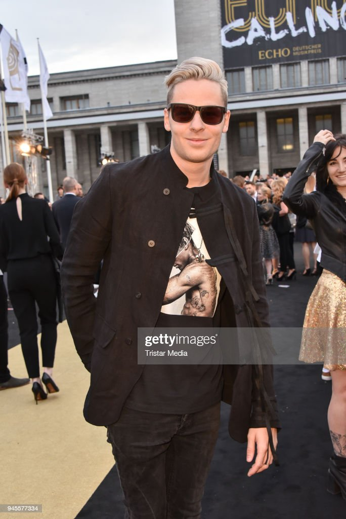 Sebastian Meyer arrives at the Echo Award 2018 at Messe Berlin on April 12, 2018 in Berlin, Germany.