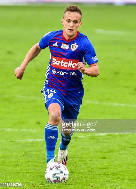 Sebastian Milewski of Piast in action during the PKO Ekstraklasa match between Gornika Zabrze and Piast Gliwice at Ernest Pohl Stadium on June 9,...