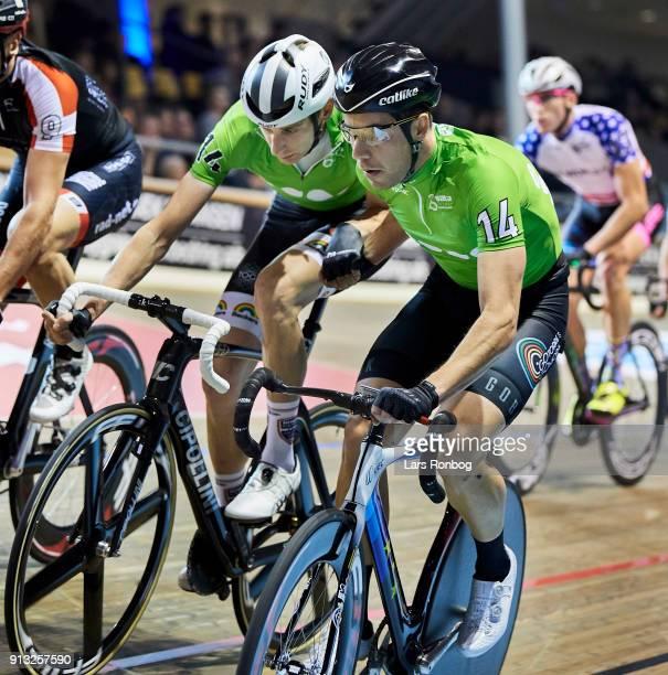 Sebastian Mora and Jesper Morkov in action during the Bilka Six Day Copenhagen bike race at Ballerup Super Arena on February 1 2018 in Copenhagen...