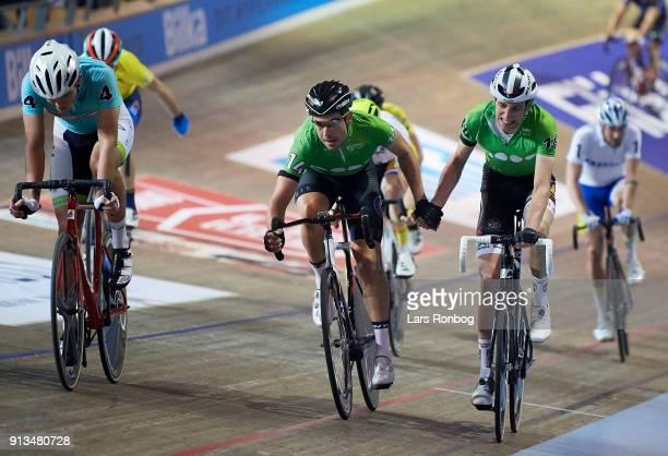 Sebastian Mora of Spain and Jesper Morkov of Denmark in action during day two of the Bilka Six Day Copenhagen bike race at Ballerup Super Arena on...