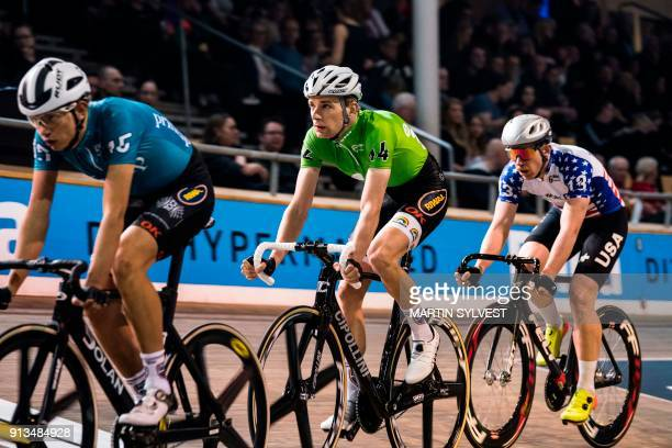 Sebastian Mora of Spain competes on February 2 2018 in Copenhagen Denmark during the second day of the 56th Copenhagen 6day Track Cycling Race / AFP...