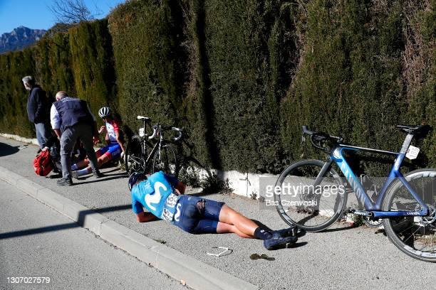 Sebastian Mora Vedri of Spain and Movistar Team & David Gaudu of France and Team Groupama - FDJ during the 79th Paris - Nice 2021, Stage 8 a 92,7km...